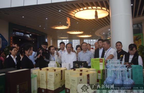嘉宾们在了解金花茶系列产品。广西新闻网记者周隆富 摄.png